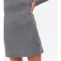 PIECES Grey Ribbed High Waist Mini Skirt New Look