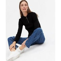 Black Ribbed Knit Long Sleeve Polo Top New Look