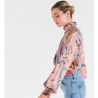 Zibi London Pink Floral Satin Pleated Blouse New Look