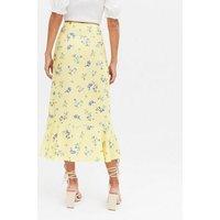 Yellow Floral Ruffle Wrap Midi Skirt New Look