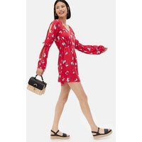 Sunshine Soul Red Floral Split Long Sleeve Mini Dress New Look