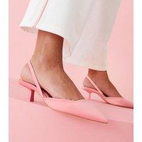 Malibu Pink Satin Slingback Kitten Heel Court Shoes New Look