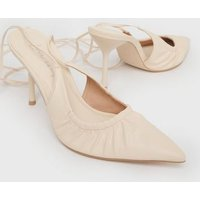 Off White Ruched Pointed Tie Stiletto Heel Court Shoes New L