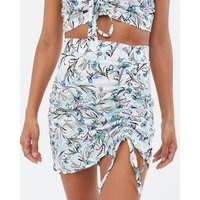 Wednesday's Girl White Floral Ruched Mini Skirt New Look
