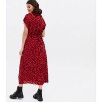 Maternity Red Leopard Print Ruffle Midi Wrap Dress New Look