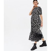Maternity Black Heart Tiered Tie Back Midi Dress New Look