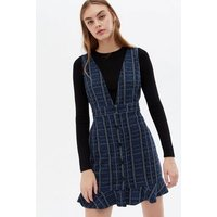 Blue Check V Neck Frill Button Front Pinafore Dress New Look