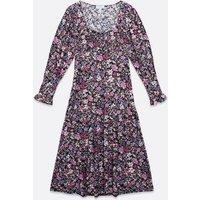 Blue Vanilla Black Floral Ruched Bustier Midi Dress New Look