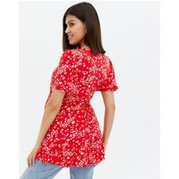 Maternity Red Leopard Print Tie Back Peplum Top New Look