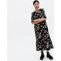 Black Daisy Poplin Tiered Oversized Smock Midi Dress New Look