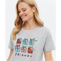 Grey Christmas Friends Logo Jogger Pyjama Set New Look