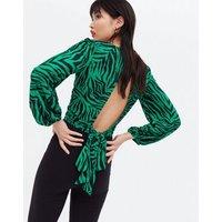 Green Zebra Print Glitter Crop Top New Look