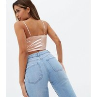 Pale Pink Satin Bustier Strappy Crop Top New Look