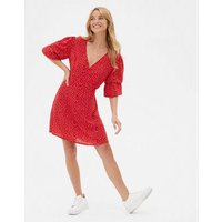 Red Ditsy Floral V Neck Mini Wrap Dress New Look