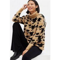 Brown Dogtooth Roll Neck Long Jumper New Look