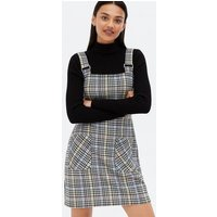 Blue Check Buckle Pocket Front Mini Pinafore Dress New Look