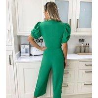 AX Paris Green Puff Sleeve Wrap Crop Jumpsuit New Look