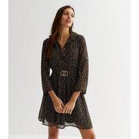 Mela Black Spot Buckle Belted Mini Shirt Dress New Look