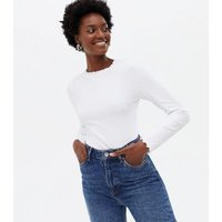 White Ribbed Frill Long Sleeve Top New Look