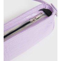 Lilac Faux Croc Shoulder Bag New Look Vegan