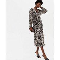 Black Zebra Print Chiffon V Neck Button Front Midi Dress New Look