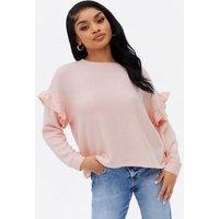 Petite Mid Pink Fine Knit Frill Sleeve Jumper New Look