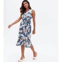 Mela Pale Blue Floral Satin Ruffle Midi Wrap Dress New Look