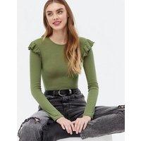 Khaki Soft Ribbed Frill Long Sleeve Top New Look