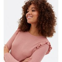 Mid Pink Fine Knit Frill Long Sleeve Top New Look