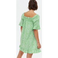 Influence Green Ditsy Floral Smock Mini Dress New Look