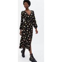Black Ditsy Floral Jersey Split Hem Midi Dress New Look