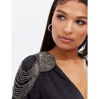 Black Satin Chain Shoulder Pad Plunge Wrap Bodysuit New Look