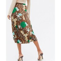 Blue Vanilla Brown Floral Satin Midi Wrap Skirt New Look