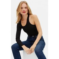 Black Ribbed Cut Out One Shoulder Bodysuit New Look