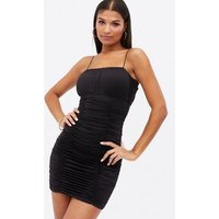 Cameo Rose Black Ruched Bustier Strappy Mini Bodycon Dress New Look