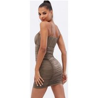 Cameo Rose Camel Ruched Bustier Strappy Mini Bodycon Dress New Look