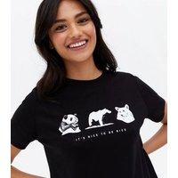 Black Animal Print It's Nice to Be Nice Logo T-Shirt New Look