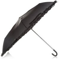 Black Frill Trim Umbrella New Look