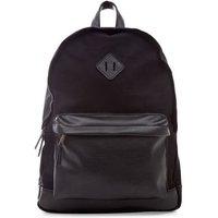 Men's Black Leather-Look Pocket Backpack New Look