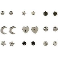 9 Pack Silver Mixed Mini Stud Earrings New Look