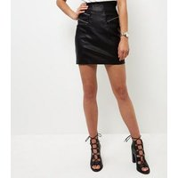 Black Leather-Look Triple Zip Front A-Line Skirt New Look
