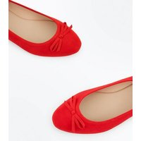 Wide Fit Red Suedette Ballet Pumps New Look
