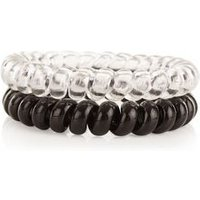 2 Pack Black and Clear Spiral Hairbands New Look