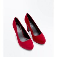 Wide Fit Red Suedette Platform Court Shoes New Look
