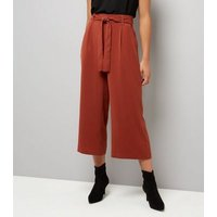 Brown Tie Waist Cropped Trousers New Look