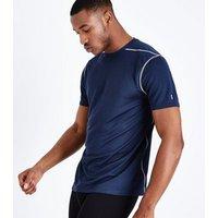 Navy Mesh Sports T-Shirt New Look