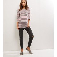 Matenity Black Washed Over Bump Ripped Knee Jeggings New Look