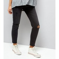 Maternity Black Ripped Knee Under Bump Jeggings New Look
