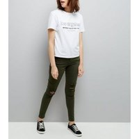 Khaki Ripped Skinny Jenna Jeans New Look