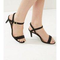 Black Suedette Low Heeled Sandals New Look